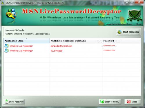 برنامج MSNLivePasswordDecryptor لاستعادة اصدار برنامج